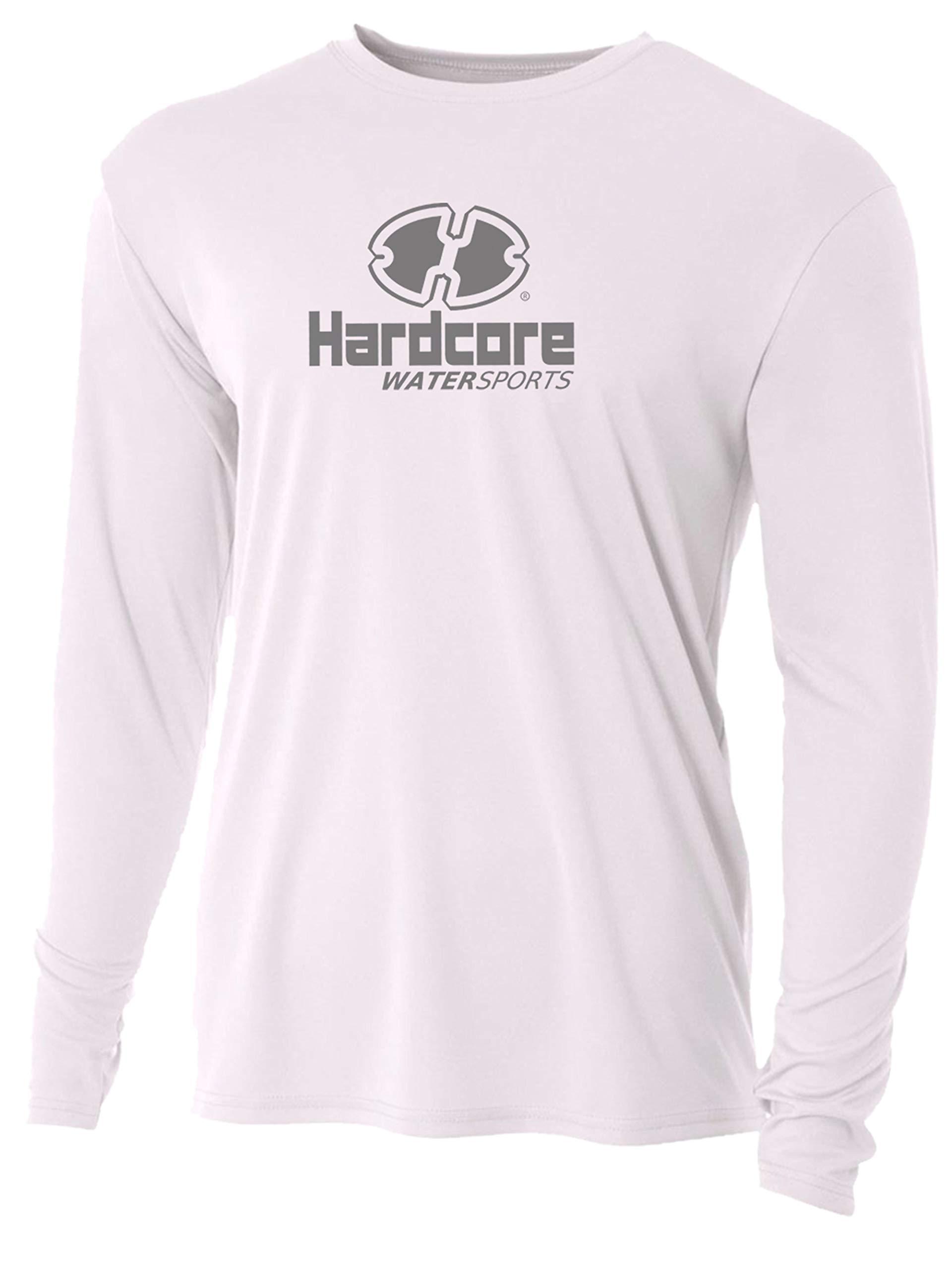 Men's Long Sleeve Loose Fit Rash Guard Surf Shirt Water Sports Swimwear White by Hardcore Water Sports