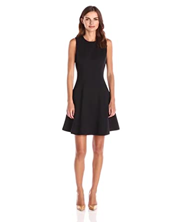 Lark & Ro Women's Sleeveless Ponte Fit and Flare Dress, Black, X-Small