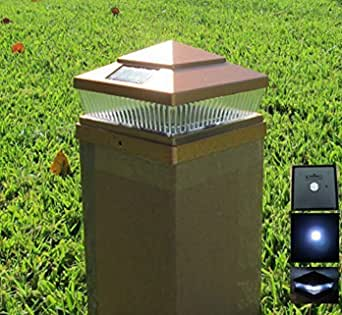 "Exquisite Selebrity Solar Square Outdoor 6X6"" Copper Finish 5 LED Fence Post Cap Light 3.2V Lithium-Ion 78Lumens (2 Pack)"