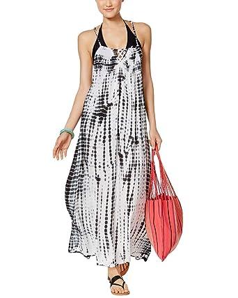 6f0cf634fa0d1 RAVIYA Women's Tie-Dyed Lattice-Back Maxi Swim Dress Cover-Up (M):  Amazon.co.uk: Clothing