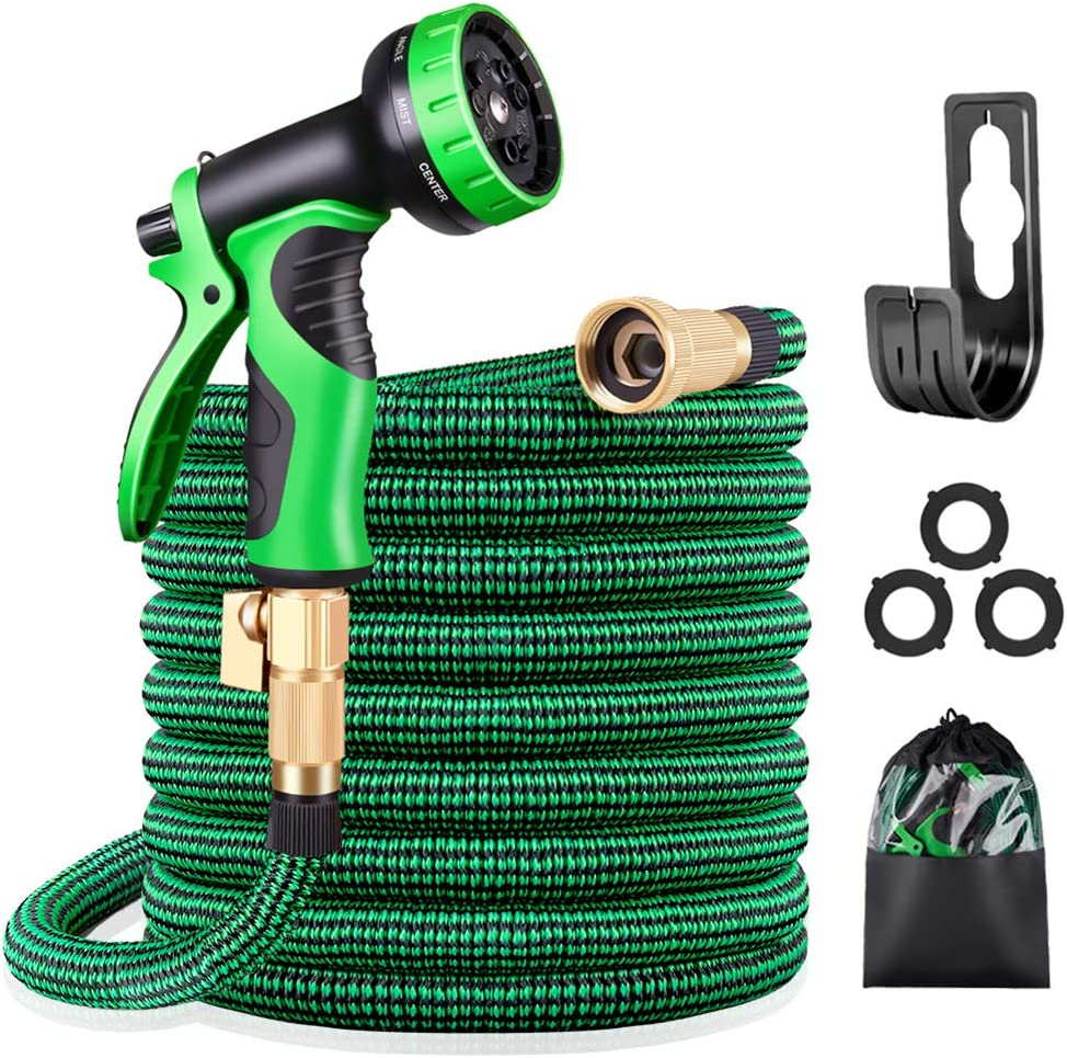 50Feet Garden Hose Multifunction Spray Nozzle Expandable Collapsible Lightweight
