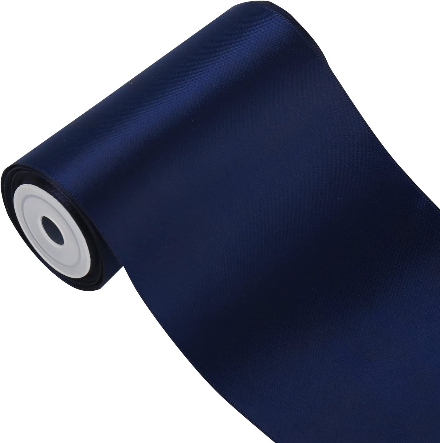 LaRibbons 4 inch Wide Solid Color Double Face Satin Ribbon Great for Chair Sash- 5 Yard/Spool (370-Navy)