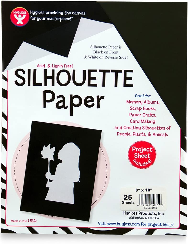 Tracing Portrait Drawing Crafts Paper 8-1//2 x 11 Inch 25 Sheets Hygloss Products Black Silhouette Paper