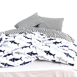 OTOB Cute Kids Students Bedding Set 3 Pieces Reversible Cartoon Fish Shark Striped Pattern Duvet Cover for Boys White Black 100% Cotton Queen Full Size (No Comforter)