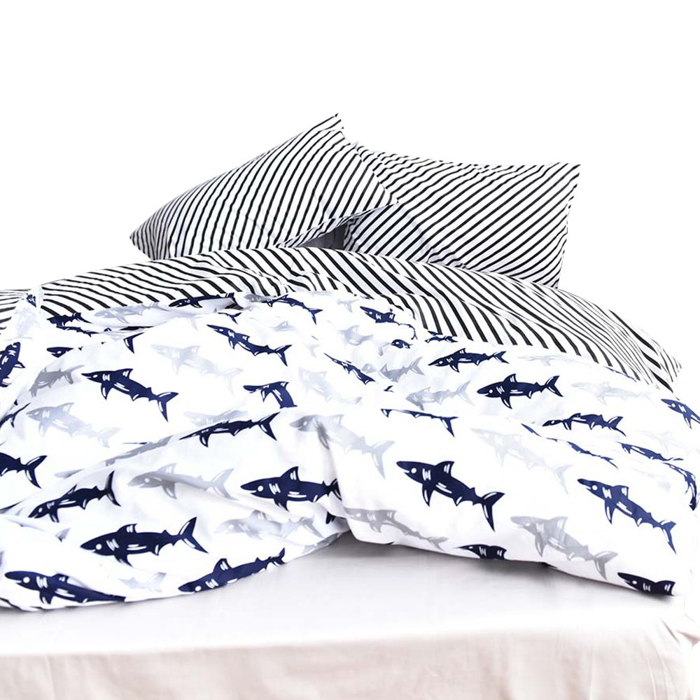 ORoa Cute Kids Students Bedding Set 3 Pieces Reversible Cartoon Fish Shark Striped Pattern Duvet Cover for Boys White Black 100% Cotton Queen Full Size (No comforter)