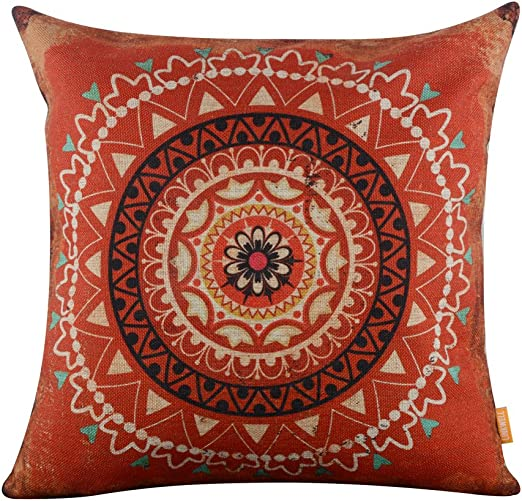 "LINKWELL 18""x18"" Retro Red Boho Bohemian Geometry Burlap Fabric New Home Fashion Decor Throw Pillowcase Cushion Cover (CC970)"