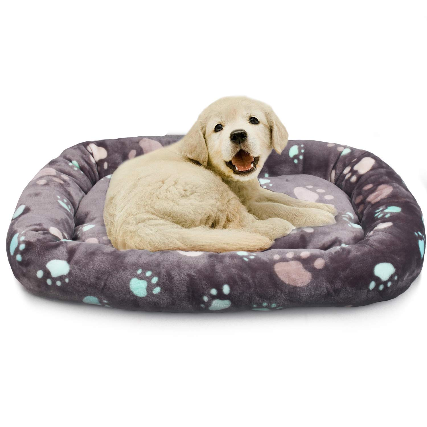 Allisandro Dog Bed | Anti-Slip Soft Pet Crate Kennel Pad - Washable Dog Mattress Pet Bed for Dogs & Cats, Grey L:33.4x22.8x4.7