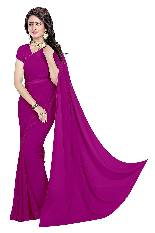 Sidhidata Textile Women's Solid Plain Georgette saree With Unstitched Blouse Piece