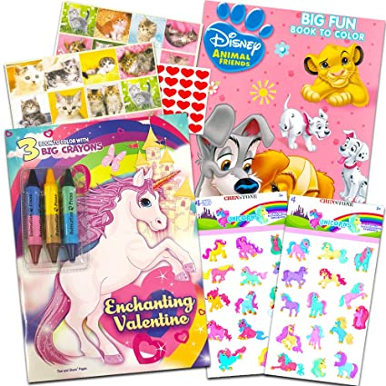 Unicorn Coloring Books For Girls Set Rainbow Butterfly Unicorn And Disney Animal Activity Books With Crayons Crenstone Unicorn Stickers Heart And