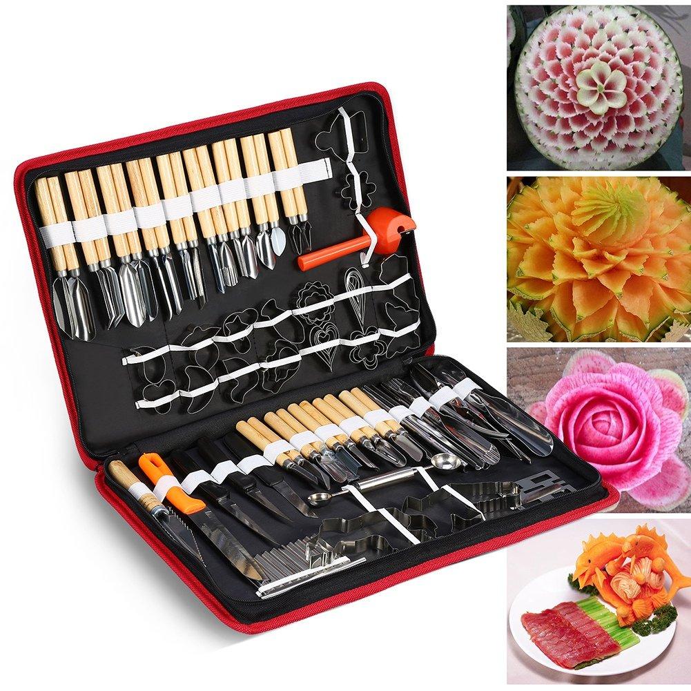 Zerone 80PCS/Set Culinary Carving Peeling Tools Kit for Fruit Vegetable Garnishing Cutting Slicing