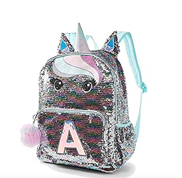 6e9a3e94186b Justice Pastel Unicorn Flip Sequin Initial School Backpack Initial Letter  (Letter K)