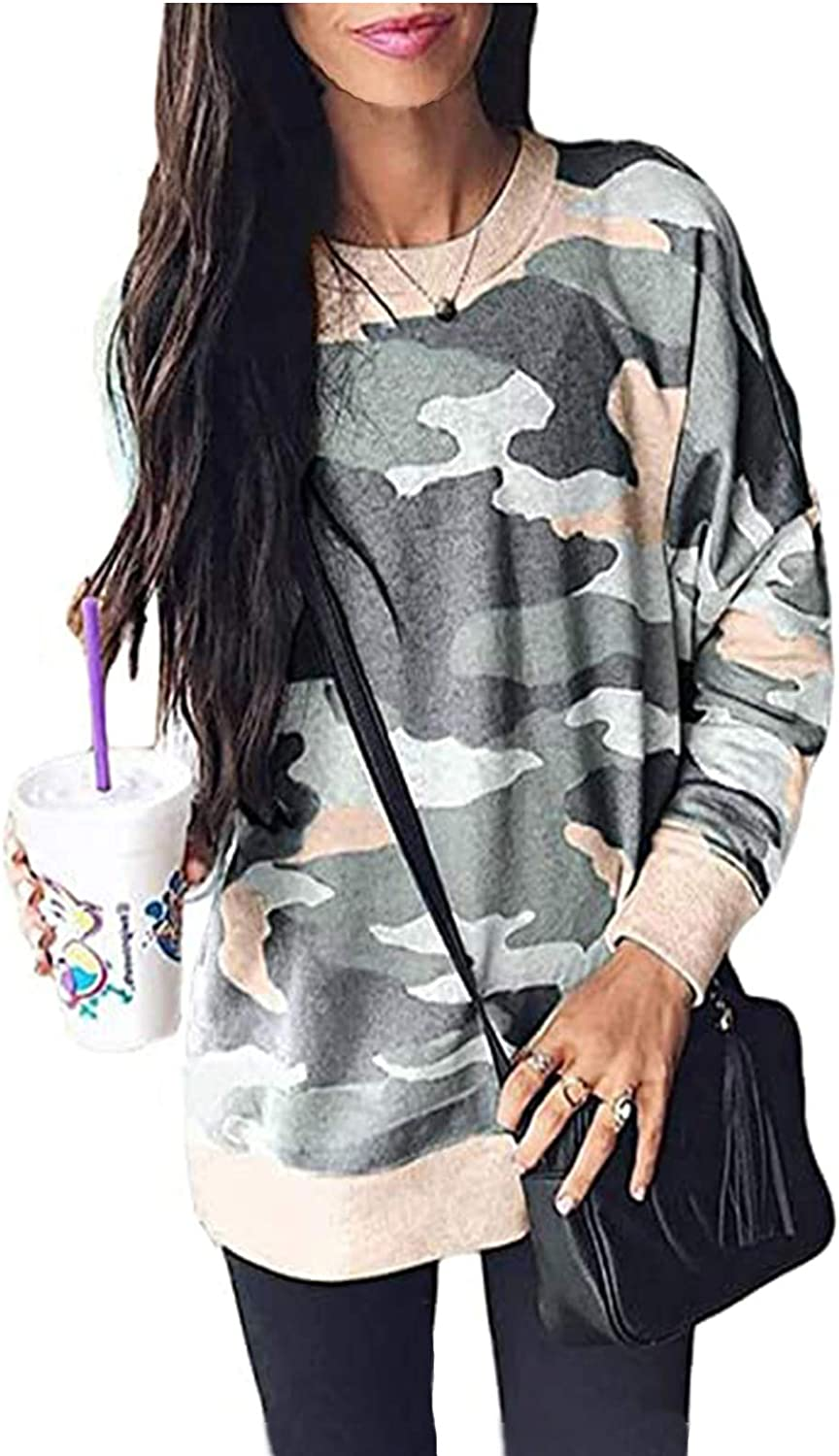 LuckyMore Women's Tie Dye Sweatshirt Casual Long Sleeve Loose Leopard Pullover Tops Shirts