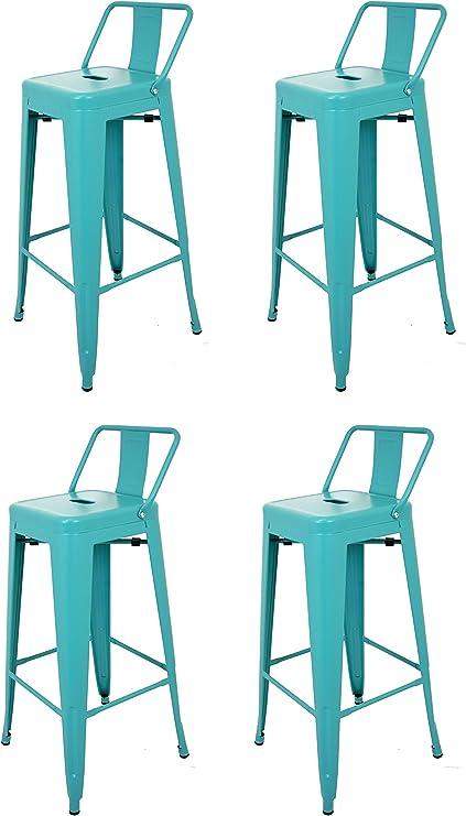 La Silla Española - Pack 4 Taburetes estilo Tolix con respaldo. Color Turquesa. Medidas 95x44,5x44,5: Amazon.es: Hogar