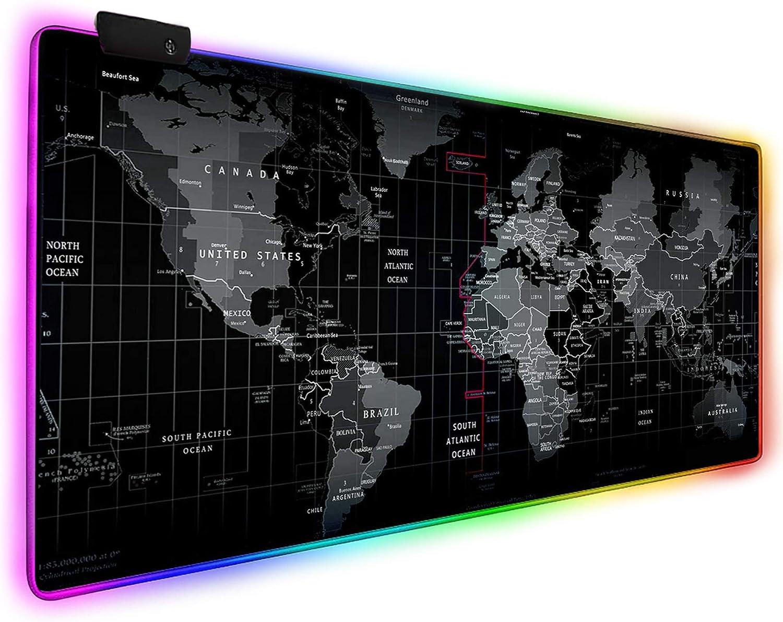 DORRISO Alfombrilla de Ratón Gaming RGB Extra Grande XXL 900x400 mm Juego Alfombrilla Raton Suave Impermeable con Base de Goma Antideslizante para Gamers Ordenador PC Laptop Mapa del Mundo