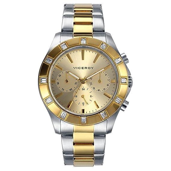 Reloj Viceroy de Mujer. Modelo 46832-27. Esfera redonda de color dorado: Amazon.es: Relojes