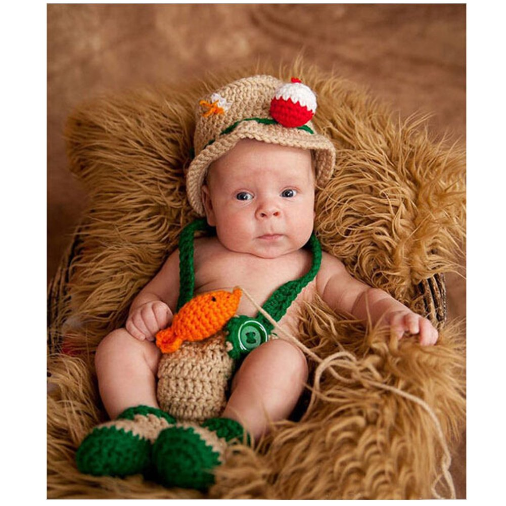 Newborn Photo Photography Props Handmade Fisherman Crochet Knit Hat Costume Cute