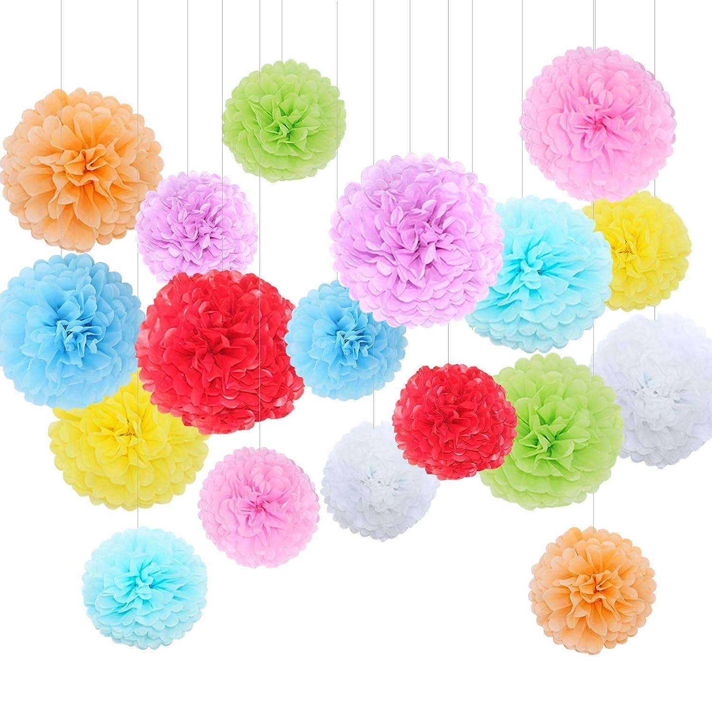 Feelshion - Set di Fiori di carta decorativi per il fai da te, addobbi per Matrimonio/ compleanno/ Baby Shower, Pompon pompoms:9-Farbig
