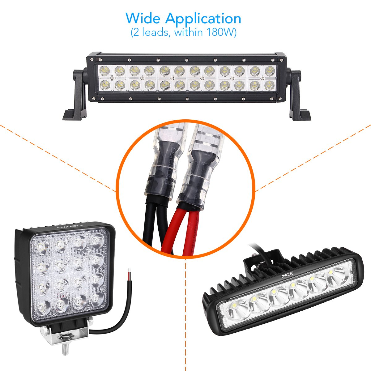 Miady Led Light Bar Wiring Harness Kit With Button Switch 12v 40a Lights In Boat Relay 3 Fuses For Atv Jeep Driving Fog Up To 180w 14 Feet