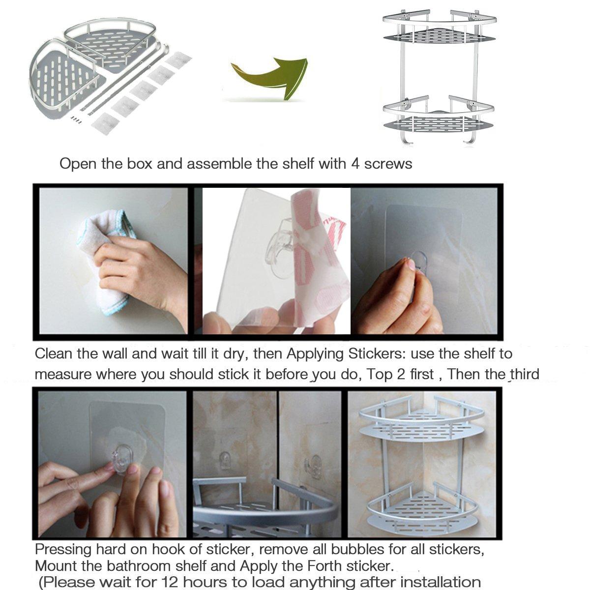 Lancher Bathroom Shelf (No Drilling) Durable Aluminum 2 tiers shower shelf Kitchen storage basket Adhesive Suction Corner Shelves Shower Caddy by Lancher (Image #2)
