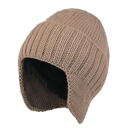 Flammi Men Warm Knit Earflap Beanie Hat Cuffed Beanie (Khaki) at ... 09735f9fd86b