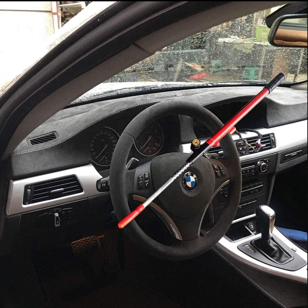 ZWS Locks Steering Wheel Lock Car Steering Wheel Lock Steering Wheel Caw Steering Wheel Lock Anti-Theft Device Protection SH Security System Color : Black+Red