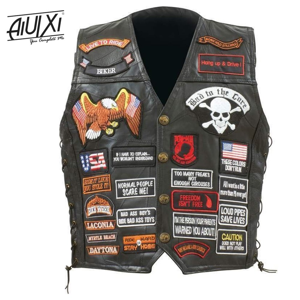 AiUIXi1991-Mens Black Genuine Leather Motorcycle V_E_S_T w/ 42 Patches US Flag Ea_gle Biker 201X - BLACK (L) by AiUIXi1991®