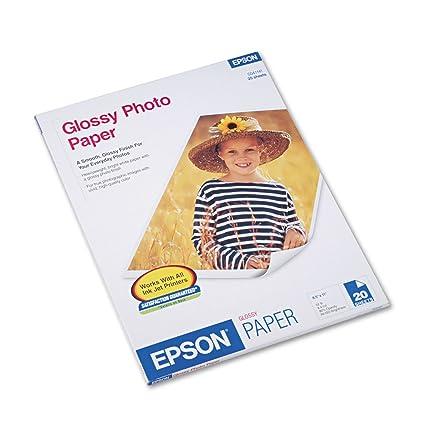 Epson Papel fotográfico brillante, 60 Lbs, brillante, 8 - 1/2 x 11 ...