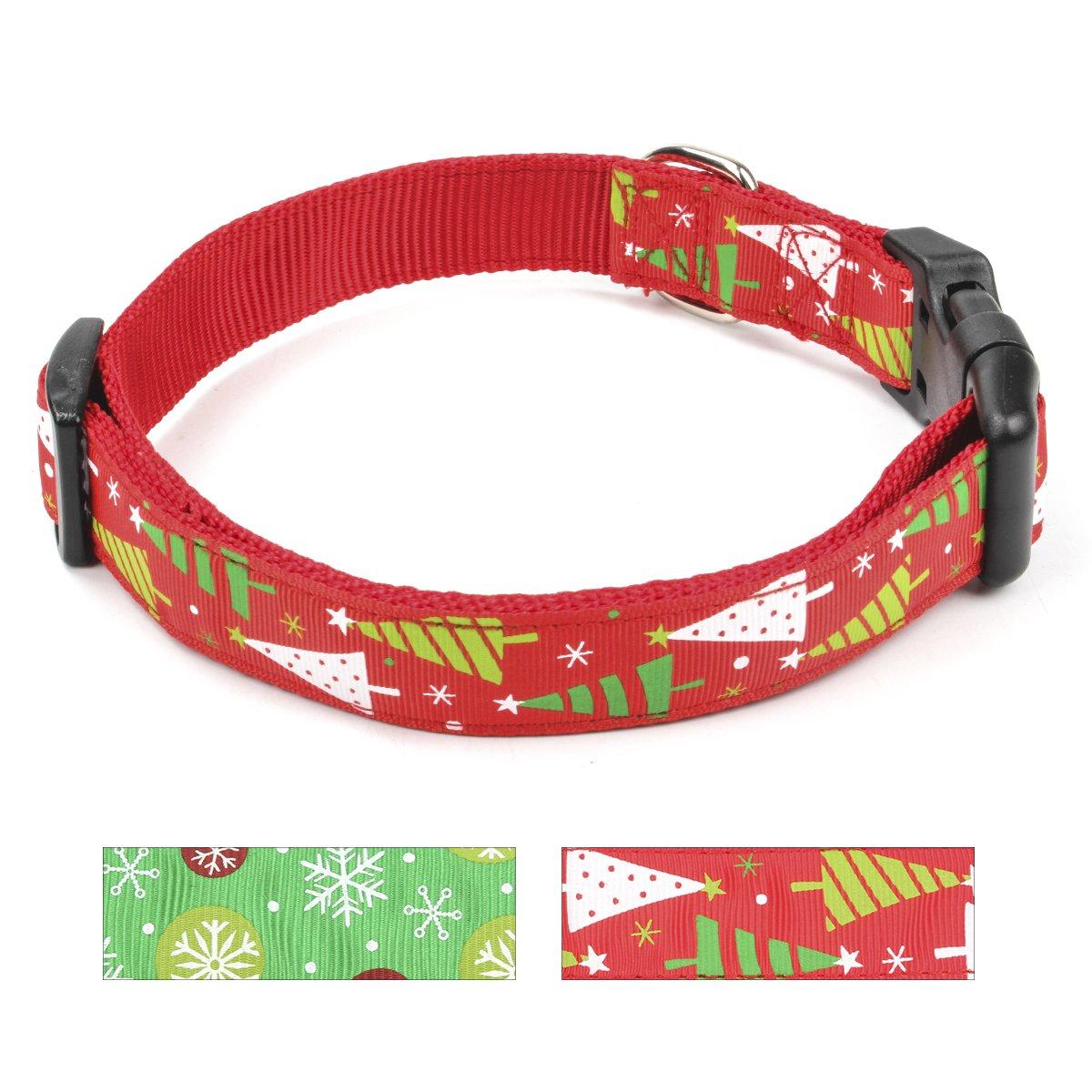 Christmas tree M Christmas tree M Ezeso Pet Dog Collar Thanksgiving Puppy Dog Collars (M, Tree)