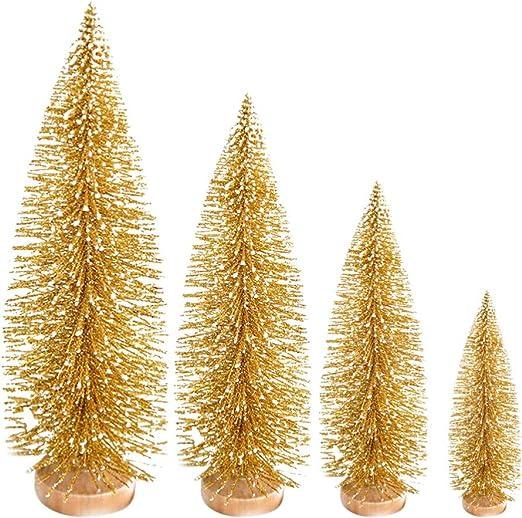 Garneck 4 Piezas de Mesa Mini árbol de Navidad Esmerilado Adornos ...