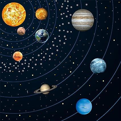 amazon com keynew magic solar system galaxy mural decals 9pcs glow