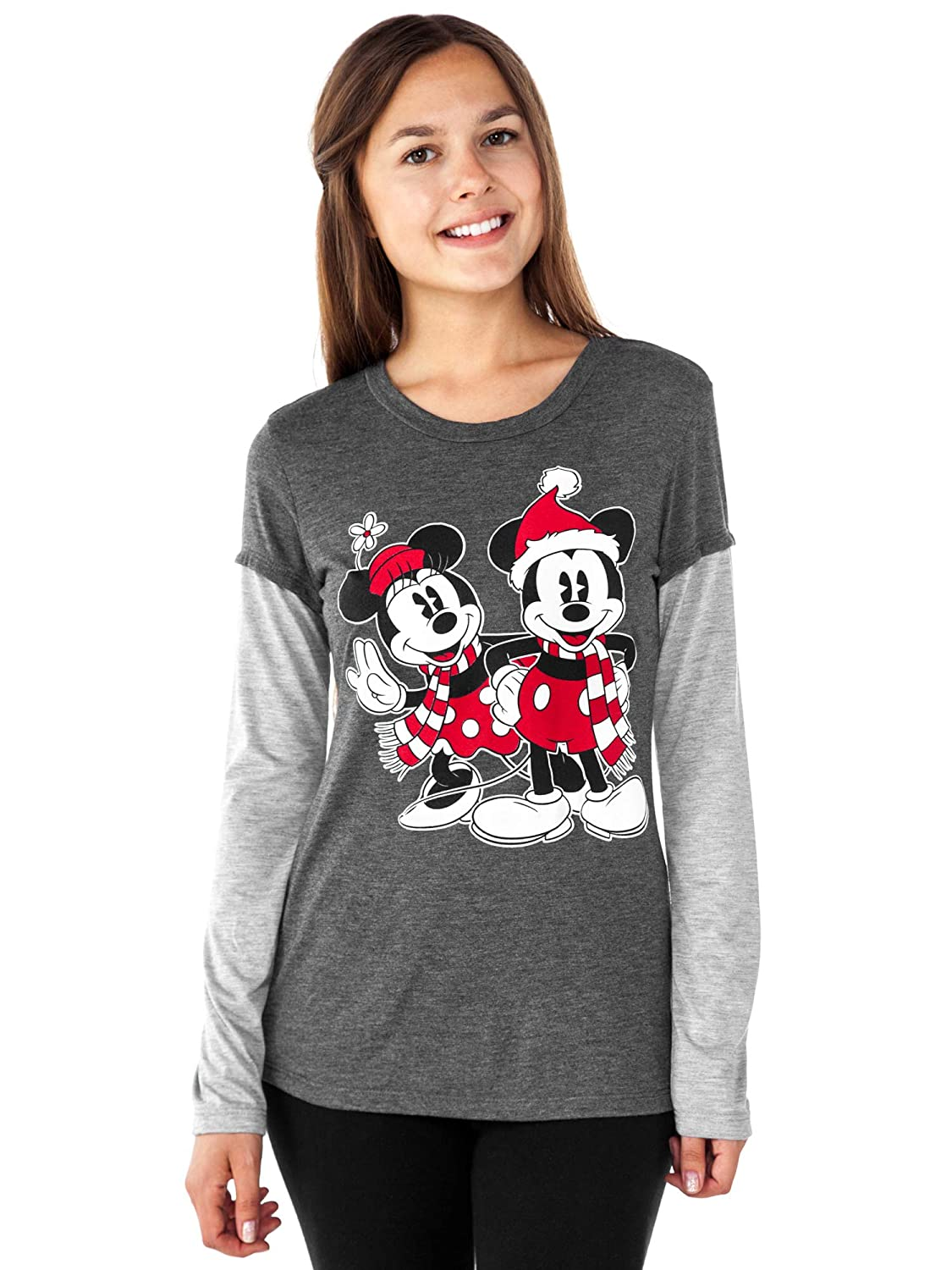 Disney Junior T-Shirt Mickey & Minnie Mouse Winter Christmas Print Long Sleeve