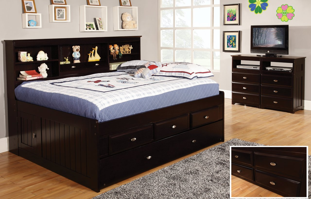 Full Daybed with 6 Drawers, Desk, Hutch, Chair and Entertainment Dresser in Espresso Finish