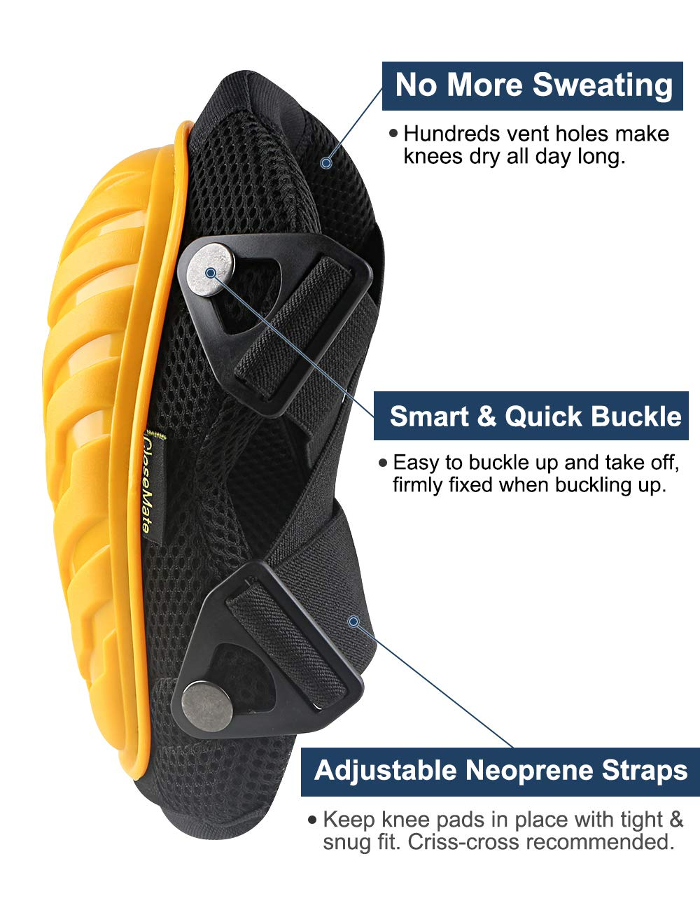 Anti-Slip Knee Pads for Work by Closemate, with Cozy Gel and EVA Foam Cushion, Designed for Gardening, Cleaning, Construction, Flooring and Carpeting, Professional Knee Protector by Closemate (Image #3)