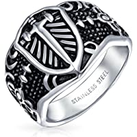Mens Religious Viking Shield Maltase Fleur De Lis Cross Signet Band Ring for Men Oxidized Silver Tone Stainless Steel