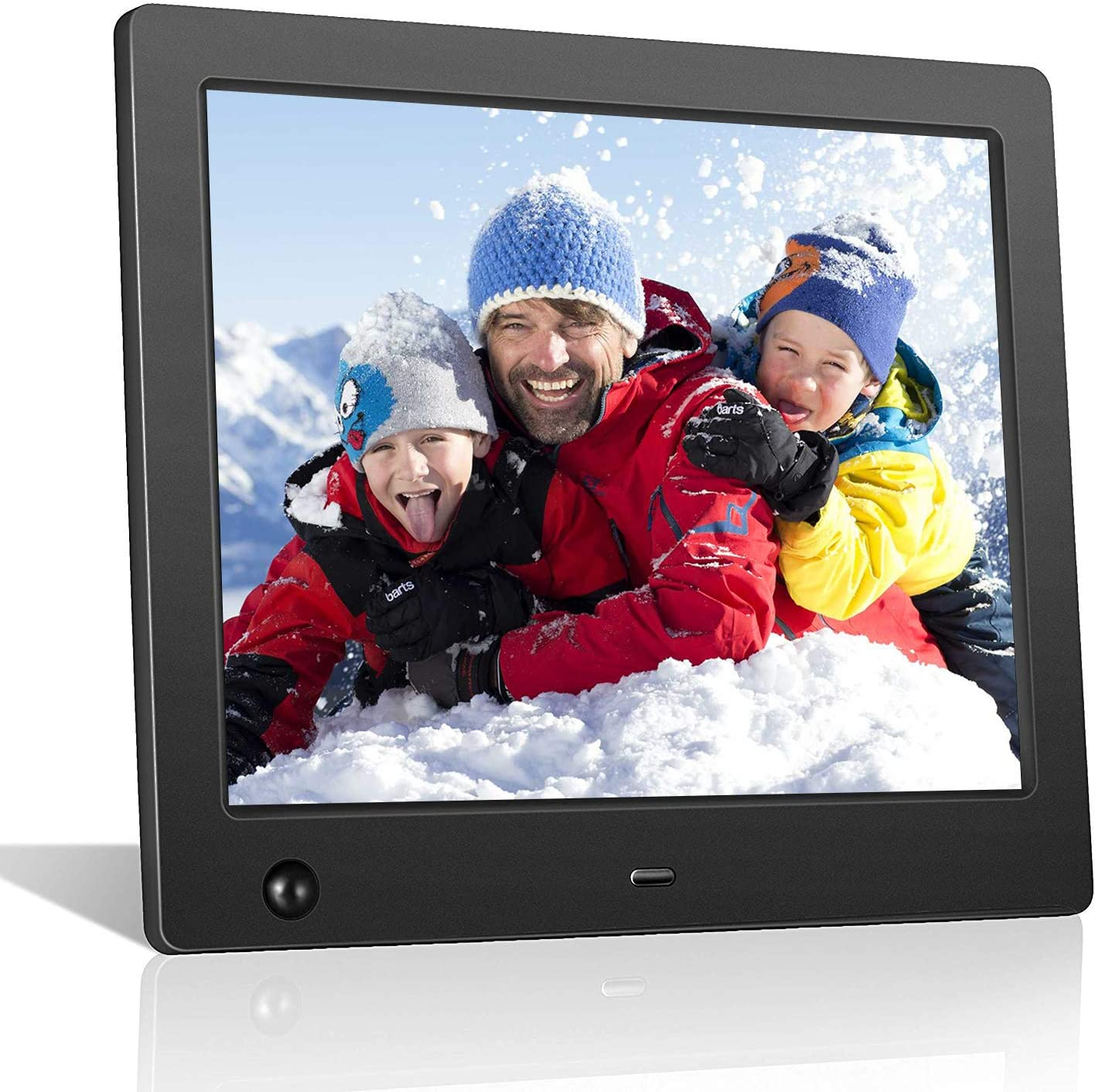 Digital Picture Frame 8 inch, Digital Photo Frame Video Player with Motion Sensor Smart Electronics Picture Frame High Resolution 1024x768 IPS LCD/1080P 720P /Stereo/MP3/Calendar/Time/Remote Control
