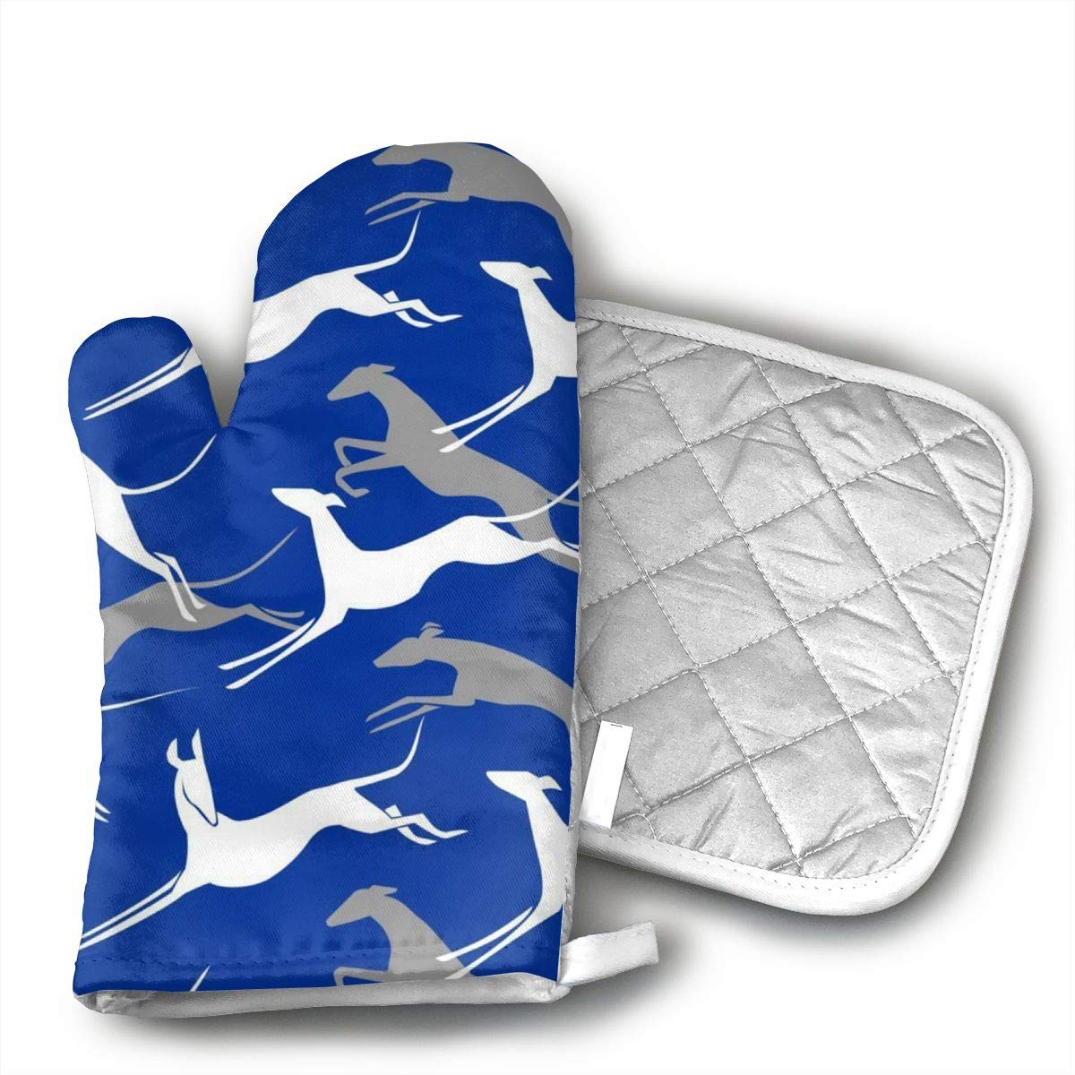 Klasl5 Jumping Greyhounds Blue Oven Mitts,Heat Resistant Oven Gloves,Non-Slip Cooking Gloves,Washable Kitchen Mitts for Baking, Barbecue.