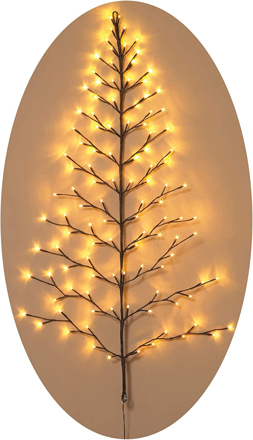 Ten Waterloo Lighted Christmas Wall Tree - Indoor/Outdoor LED 4 Foot High - Warm White Lights - Battery Operated with Timer