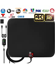 [Latest 2019] Amplified HD Digital TV Antenna Long 120 Miles Range - Support 4K 1080p and All Older TV's Indoor Powerful HDTV Amplifier Signal Booster - 18ft Coax Cable/AC Adapter