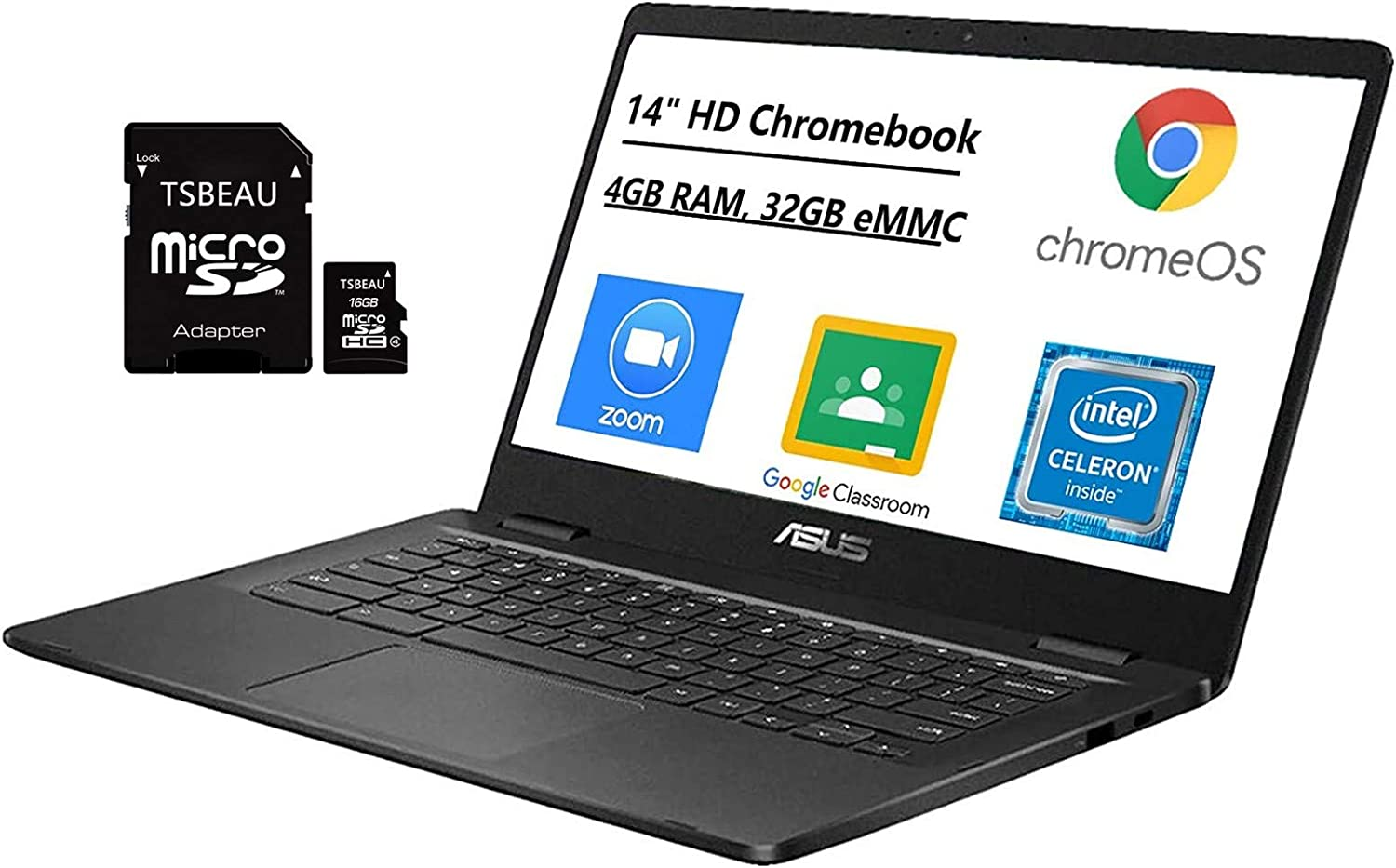 "ASUS Chromebook 14"" HD Thin & Light Laptop Computer, Intel Celeron N3350 up to 2.4GHz, 4GB LPDDR4 RAM, 32GB eMMC, Online Class, Bluetooth, Chrome OS, Bundled with TSBEAU 16GB Micro SD Card"