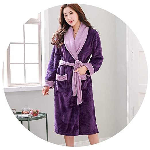 Plus Size Women 4XL 5XL 6XL Kimono Robe Satin Warm Flannel Womens Sexy Robe  Thicken Winter Purple Bathrobe Elegant Sleepwear at Amazon Women s Clothing  ... 3b0bd842c