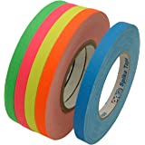 JVCC Gaff-Color-Pack Gaffers Tape Multi-Pack: 1/2 in. wide 5 Rolls/Pack (Fluorescent Blue, Fl. Green, Fl. Orange, Fl. Pink, Fl. Yellow)