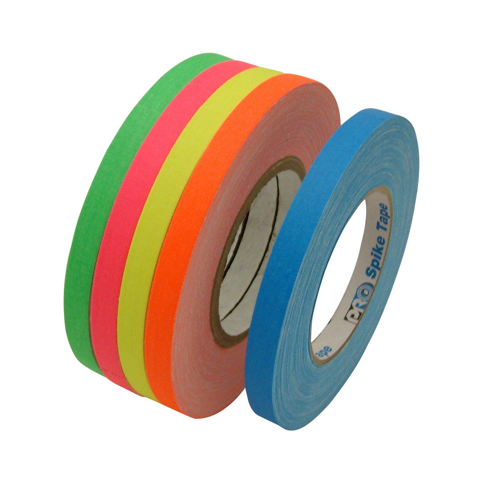 JVCC Gaff-Color-Pack Gaffers Tape Multi-Pack: 1/2 in. wide 5 Rolls/Pack (Fluorescent Blue, Fl. Green, Fl. Orange, Fl. Pink, Fl. Yellow) by J.V. Converting