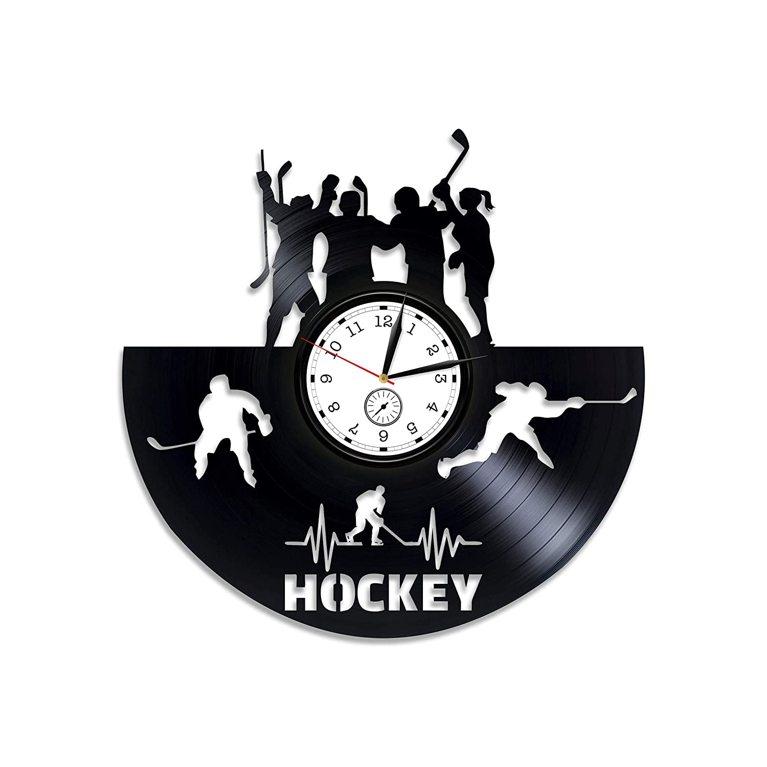 Kovides Hockey Vinyl Clock Hockey Vinyl Wall Clock Hockey Team Gift Ice Hockey Gift for Man Hockey Vinyl Record Wall Clock Ice Hockey Wall Clock VModern Hockey Clock Sport Gift for Him Sport Clock