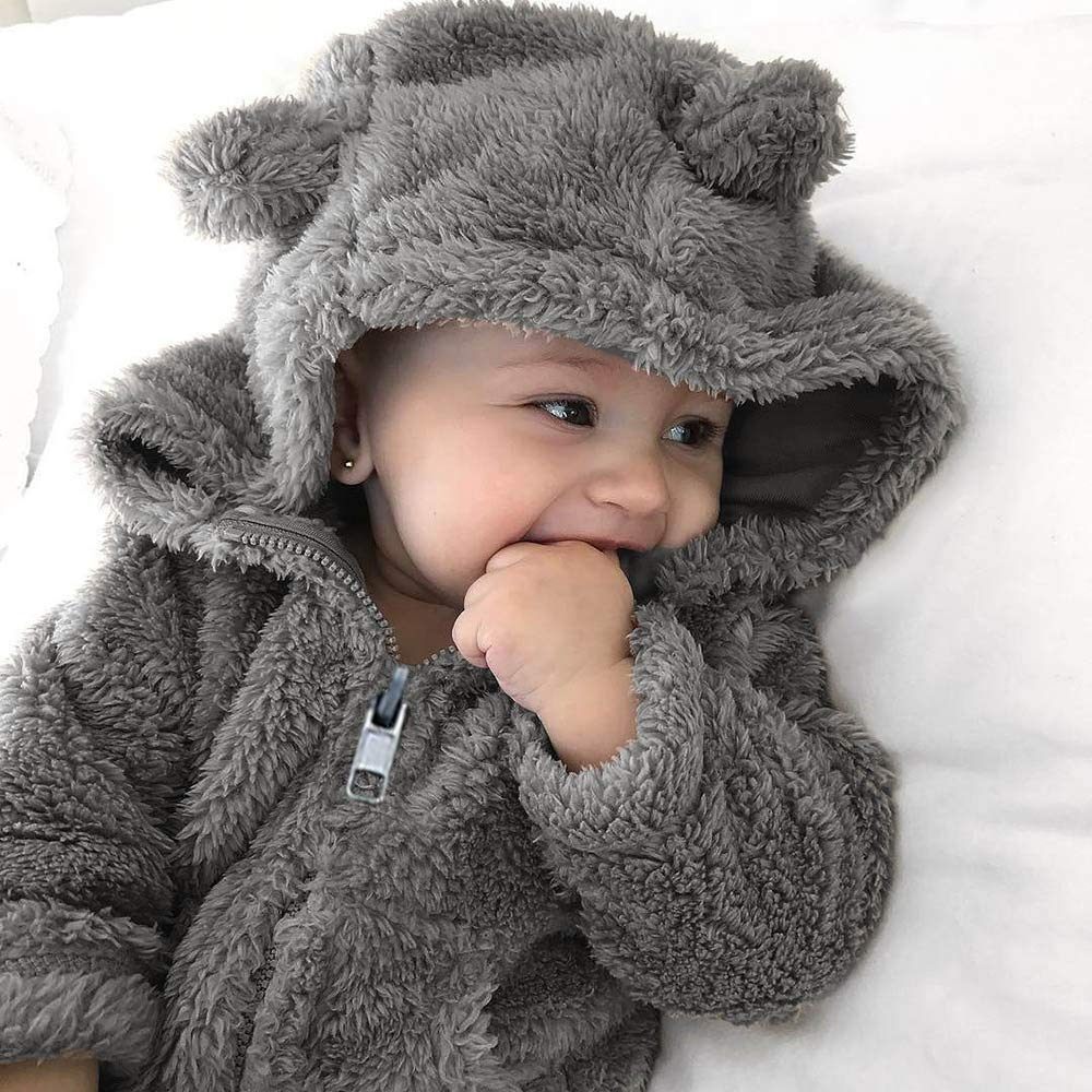 Deloito Baby Unisex Coat Toddler Baby Boys Girls Fur Hoodie Winter Warm Coats Jacket Cute Thick Clothes Cardigan Outerwear Suitable 0-3 Years