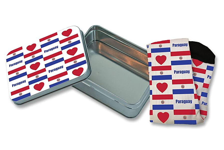 "Paraguay Flag Heart Pattern 11"" Knee Socks And Tin Box Gift ..."