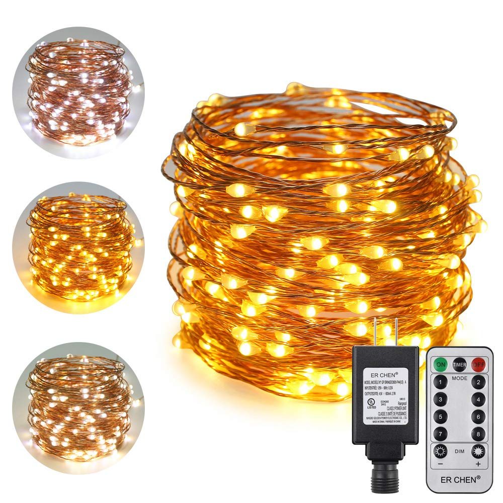 ErChen Dual-Color LED String Lights, 66 FT 200 LEDs Plug in Copper Wire 8 Modes Dimmable Fairy Lights with Remote Timer for Indoor Outdoor Christmas (White/Warm White)