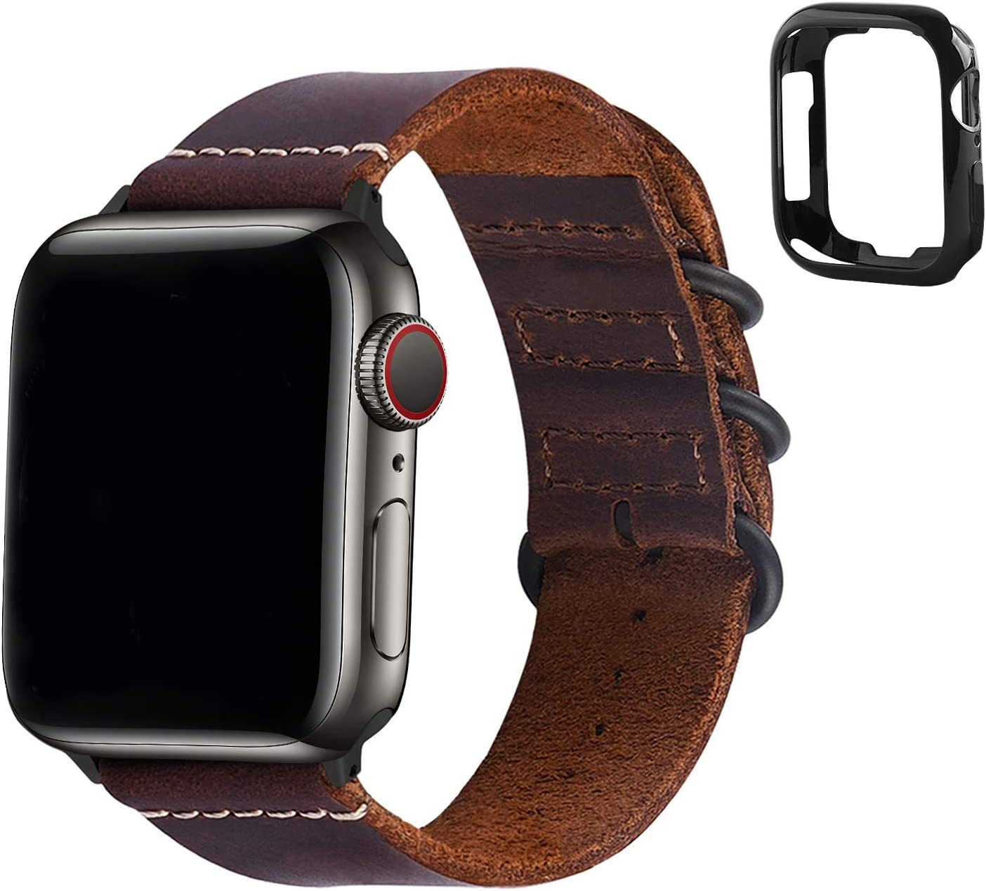 Fullmosa Compatible Apple Watch Band 44mm 42mm 38mm 40mm,Leather NATO Strap for iWatch SE & Series 6/5/4/3/2/1,Brown,44mm 42mm
