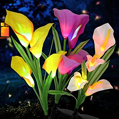 Garden Lights Outdoor Solar Lights Garden Decor Patio Decorations Outdoor Decorative Solar Powered LED Lights Calla Lily Flower In-Ground Path Figurine Landscape Lighting Home Decor, HanEasy (3 Packs)