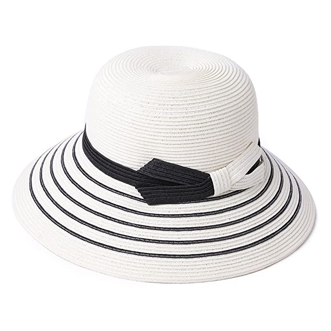 Image Unavailable. Image not available for. Color  Womens Straw Sun Hat  Fedora Summer Beach Wide Brim ... fde5e214b47e