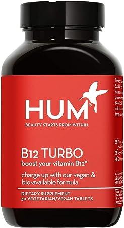 HUM B12 Turbo - Vegan B12 Vitamins Daily Supportive Energy Supplement - Calcium & Bioavailable Methylcobalamin, Non-GMO & Gluten-Free (30 Vegan/Vegetarian Tablets)